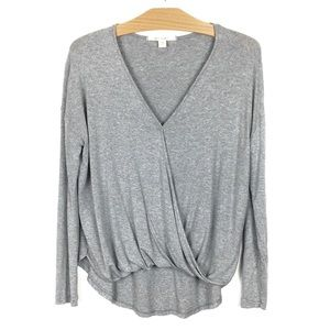 Miami Oversized Twist Flip Hem Tee V-Neck Grey XS